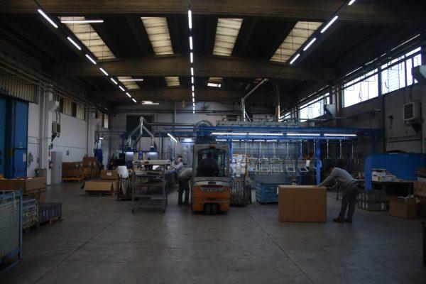 Una vista generale dell'impianto di verniciatura di CP International.