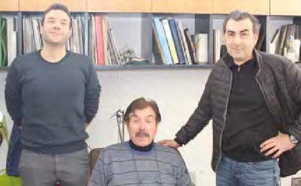 Gianfranco Austoni, al centro, con figlio e genero, suoi collaboratori.