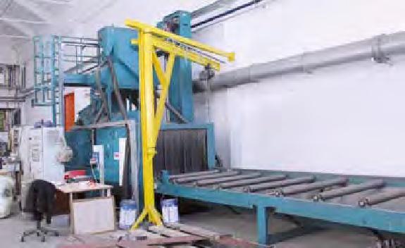L'impianto automatico di granigliatura metallica.