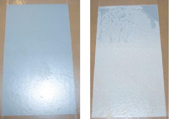 PROVA DI CONTATTO FISICO CON ACIDO SOLFORICO Il campione di sinistra è trattato con primer epossidico con cariche nanotecnologiche, quello di destra invece è trattato con ciclo tradizionale