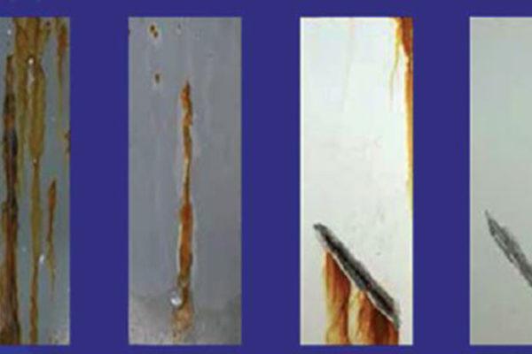 """A sinistra, si nota un forte miglioramento anticorrosivo anche di uno zincante inorganico con la semplice aggiunta di una """"carica"""" nanotecnologica. A destra un fondo epossidico anticorrosivo della miglior qualità non supera le 1.000 ore di resistenza alla corrosione: con l'aggiunta di grafene nanotecnologico la resistenza è al minimo raddoppiata."""