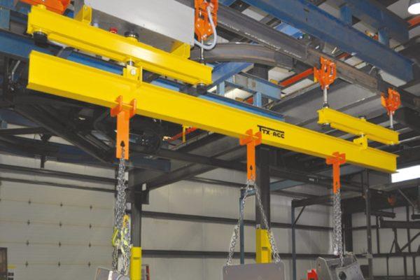 Una barra portapezzi (o portabilancelle) del sistema TTX-ACC®, completamente autonoma e programmabile (nella figura, la versione per carico fino a fino a 3.000 kg).