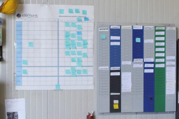 Una immagine delle tabelle di lavorazione. L'azienda è in fase di organizzazione della piattaforma gestionale in ottica Industria 4.0.