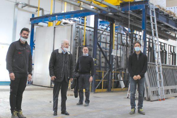 In visita alla F.lli Paoli. Da sinistra, Loris Paoli, Danilo O. Malavolti, Carlo Guidetti e Tommaso Giovenzana (Chemtec).